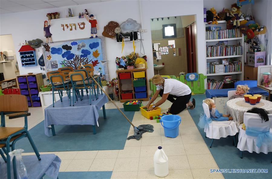ISRAEL-MODIIN-COVID-19-JARDIN DE NIÑOS-REAPERTURA-PREPARACION