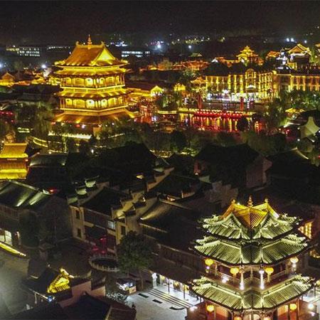 Paisaje nocturno del Taierzhuang, en Shandong