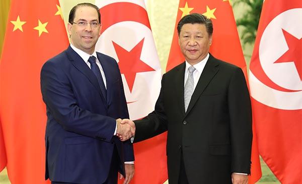 Presidente chino se reúne con primer ministro tunecino