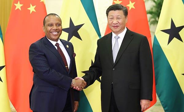 Xi se reúne con primer ministro de Santo Tomé y Príncipe